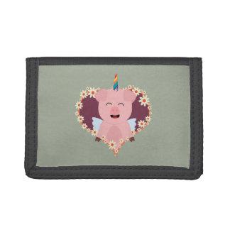 Unicorn angel pig in flower heart Zzvrv Tri-fold Wallet