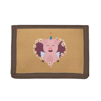 Unicorn angel pig in flower heart Zzvrv Tri-fold Wallets