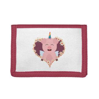 Unicorn angel pig in flower heart Zzvrv Trifold Wallet