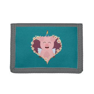 Unicorn angel pig in flower heart Zzvrv Trifold Wallets