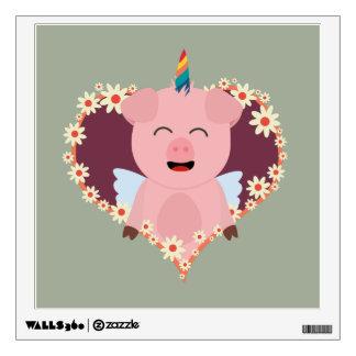 Unicorn angel pig in flower heart Zzvrv Wall Decal
