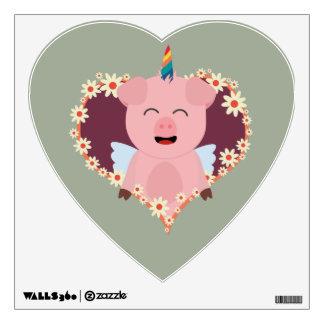 Unicorn angel pig in flower heart Zzvrv Wall Sticker