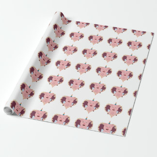 Unicorn angel pig in flower heart Zzvrv Wrapping Paper