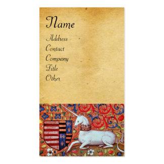 UNICORN / Antique Brown Parchment Business Card Templates