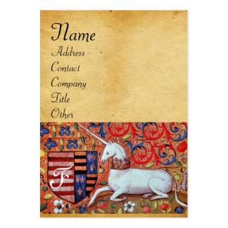 UNICORN / Antique Brown Parchment Monogram Business Card Templates