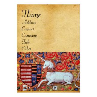 UNICORN / Antique Brown Parchment Monogram Business Cards