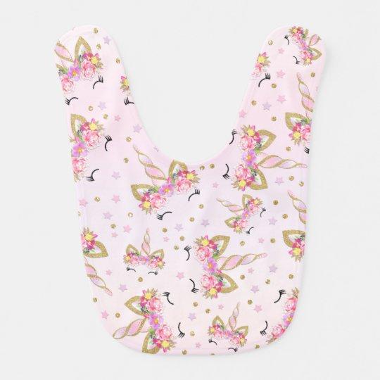 Unicorn Baby Bib Pink Gold Unicorn Floral Baby Bib