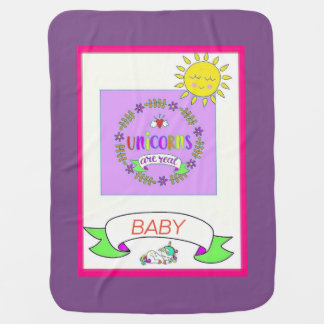 Unicorn Baby Blanket - Purple