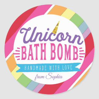 Unicorn Bath Bomb Custom Labels Stickers