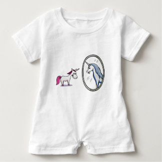 Unicorn before mirrors - Unicorn in front OF Baby Romper