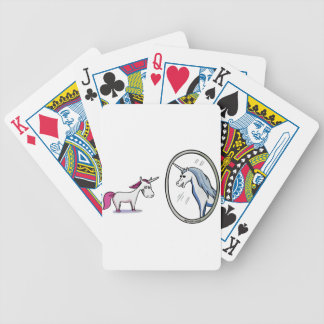 Unicorn before mirrors - Unicorn in front OF Bicycle Playing Cards