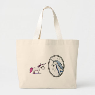 Unicorn before mirrors - Unicorn in front OF Large Tote Bag