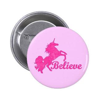 Unicorn, Believe 2 Inch Round Button