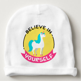"Unicorn ""Believe in yourself"" motivational drawing Baby Beanie"