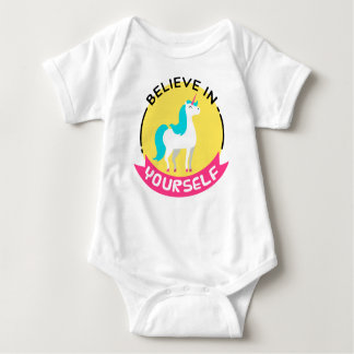 "Unicorn ""Believe in yourself"" motivational drawing Baby Bodysuit"