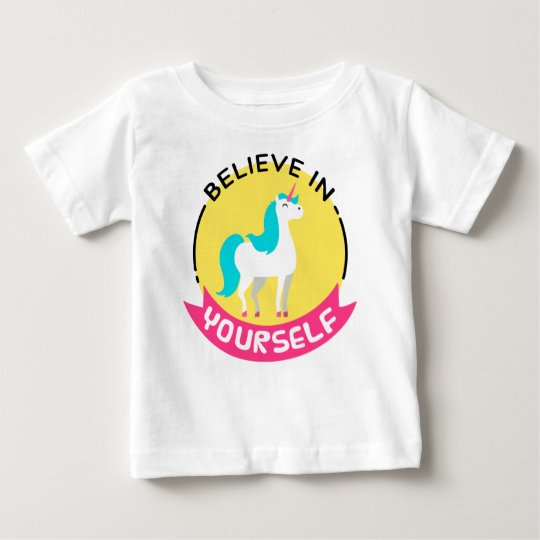 "Unicorn ""Believe in yourself"" motivational drawing Baby T-Shirt"