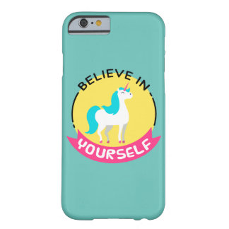 """Unicorn """"Believe in yourself"""" motivational drawing Barely There iPhone 6 Case"""