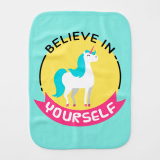 "Unicorn ""Believe in yourself"" motivational drawing Burp Cloths"