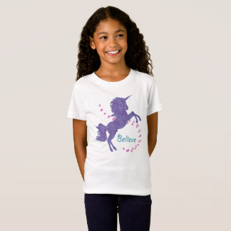 Unicorn Believe Purple Pink Faux Glitter Effect T-Shirt