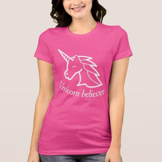 Unicorn believer pink personalized slogan t-shirt