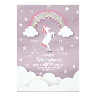 Unicorn Birthday Clouds + Stars Watercolor Card