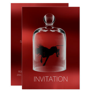 Unicorn Birthday Gentlemen Night Party Ruby Wine Card