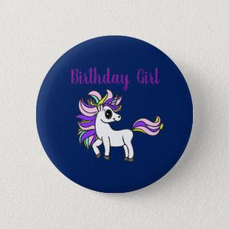 unicorn Birthday girl,  birthday party 2 Inch Round Button