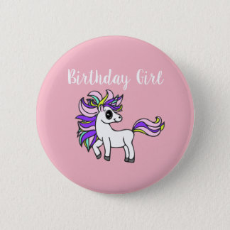 unicorn Birthday girl,  birthday party 2 Inch Round Button