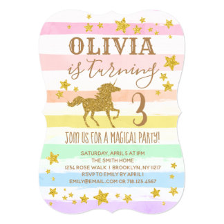 Unicorn Birthday Invitation Gold Pastel Rainbow
