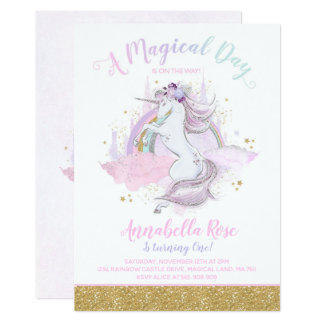 Unicorn Birthday Invitation Rainbow Unicorn Party