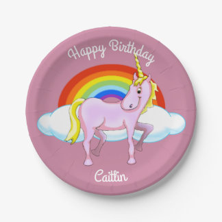 Unicorn Birthday Paper Plates (Customizable) 7 Inch Paper Plate