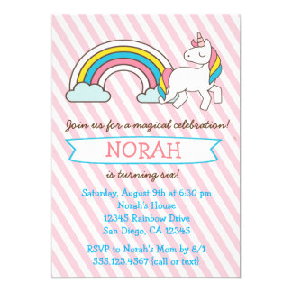 Unicorn Birthday Party Girl Invitation