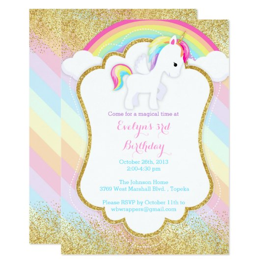 Unicorn Birthday Party Invitation - Pastel Rainbow