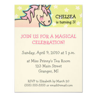 Unicorn Birthday Party Invitations 4.25 in