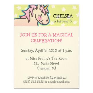 Unicorn Birthday Party Invitations 4.25 in