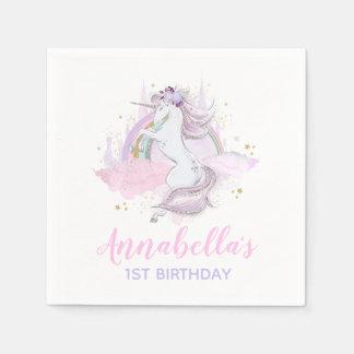 Unicorn Birthday Party Napkin Rainbow Unicorn Paper Napkin