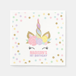 Unicorn Birthday Party Napkin Whimsical Unicorn
