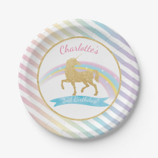 Unicorn Birthday Party Paper Plates 7 Inch Paper Plate