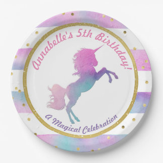 Unicorn Birthday Party Plate | Watercolor Glitter