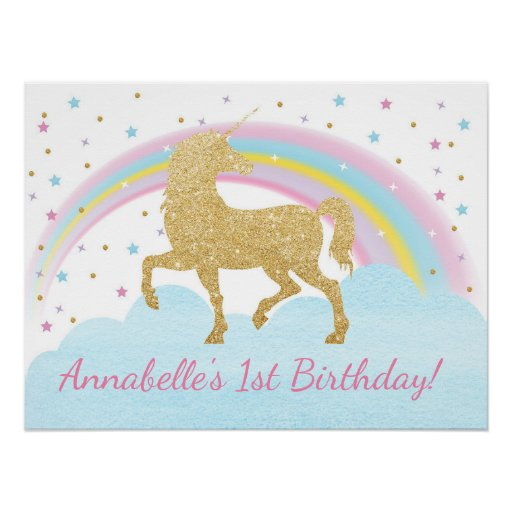 Unicorn Birthday Party Poster Backdrop Zazzle Ca