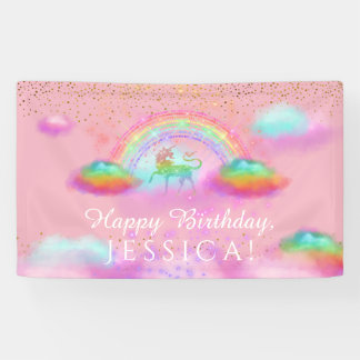 Unicorn Birthday Party Rainbow Clouds Pink Gold Banner