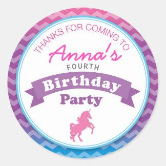 Unicorn Birthday Party Thank you Sticker