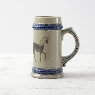 Unicorn Black and White Print Beer Stein