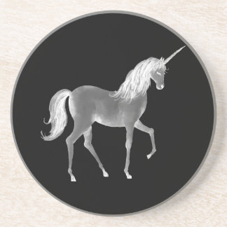Unicorn Black and White Print Coaster