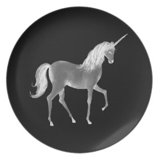 Unicorn Black and White Print Dinner Plates