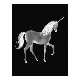Unicorn Black and White Print Letterhead