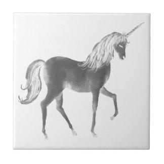 Unicorn Black and White Print Tile