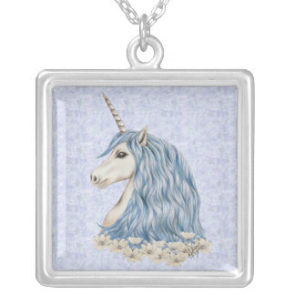 Unicorn Blue Hair Silver Plated Necklace