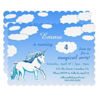 Unicorn Blue Sky Clouds Custom Birthday Invitation