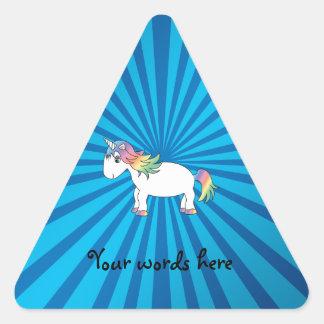 Unicorn blue sunburst triangle sticker